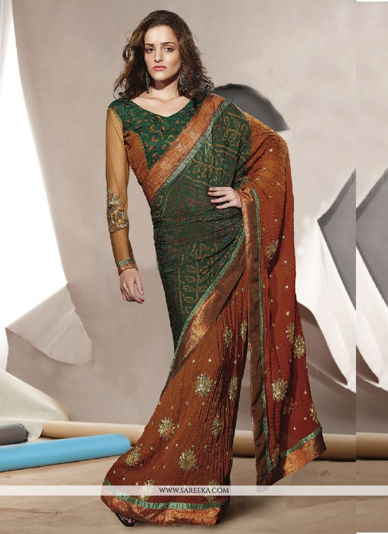 Embroidered Work Brown Faux Crepe Designer Saree