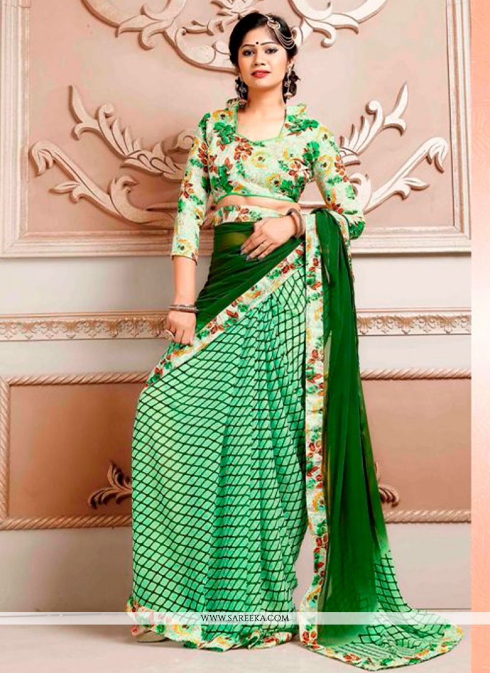 Weight Less Green Print Work Printed Saree