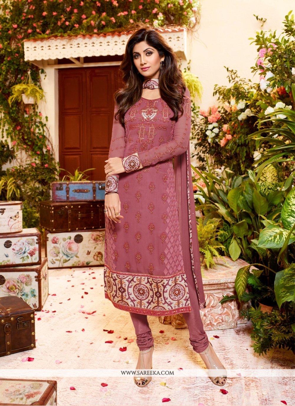 Shilpa Shetty Georgette Print Work Churidar Designer Suit