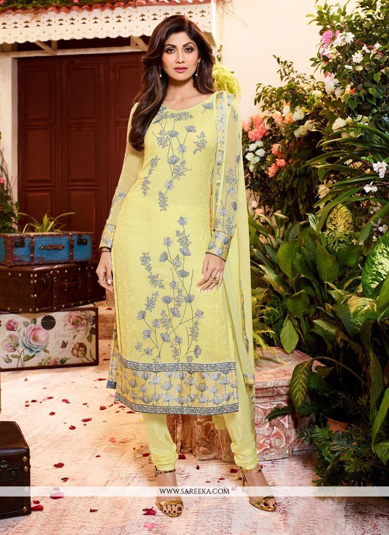 Buy Shilpa Shetty Yellow Georgette Churidar Designer Suit Online ...