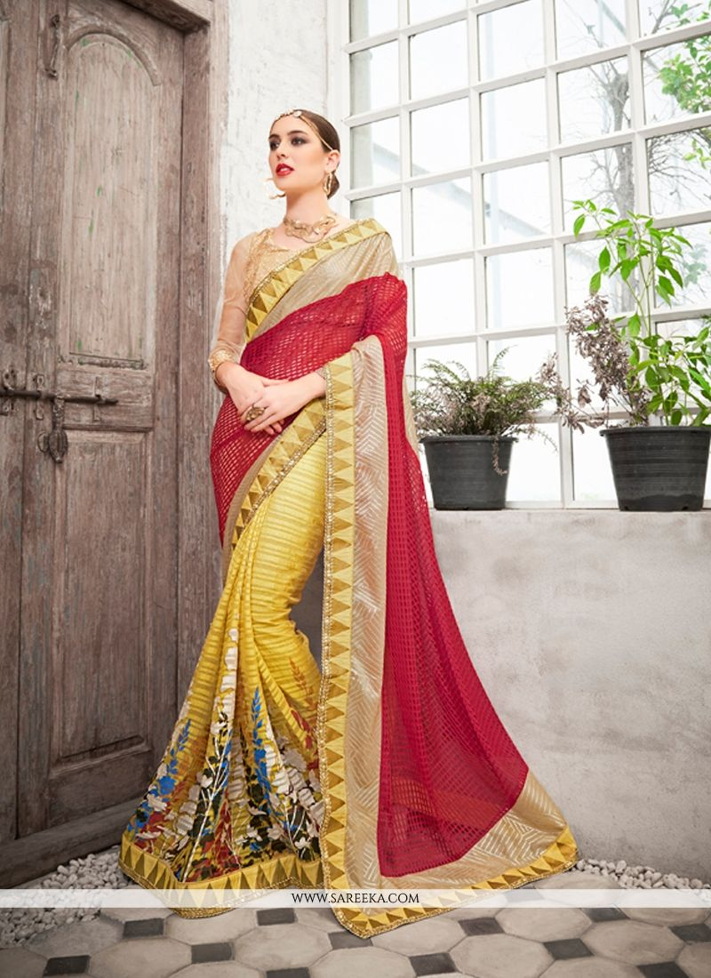 Net Embroidered Work Classic Designer Saree