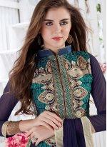 Embroidered Work Navy Blue Georgette Churidar Designer Suit