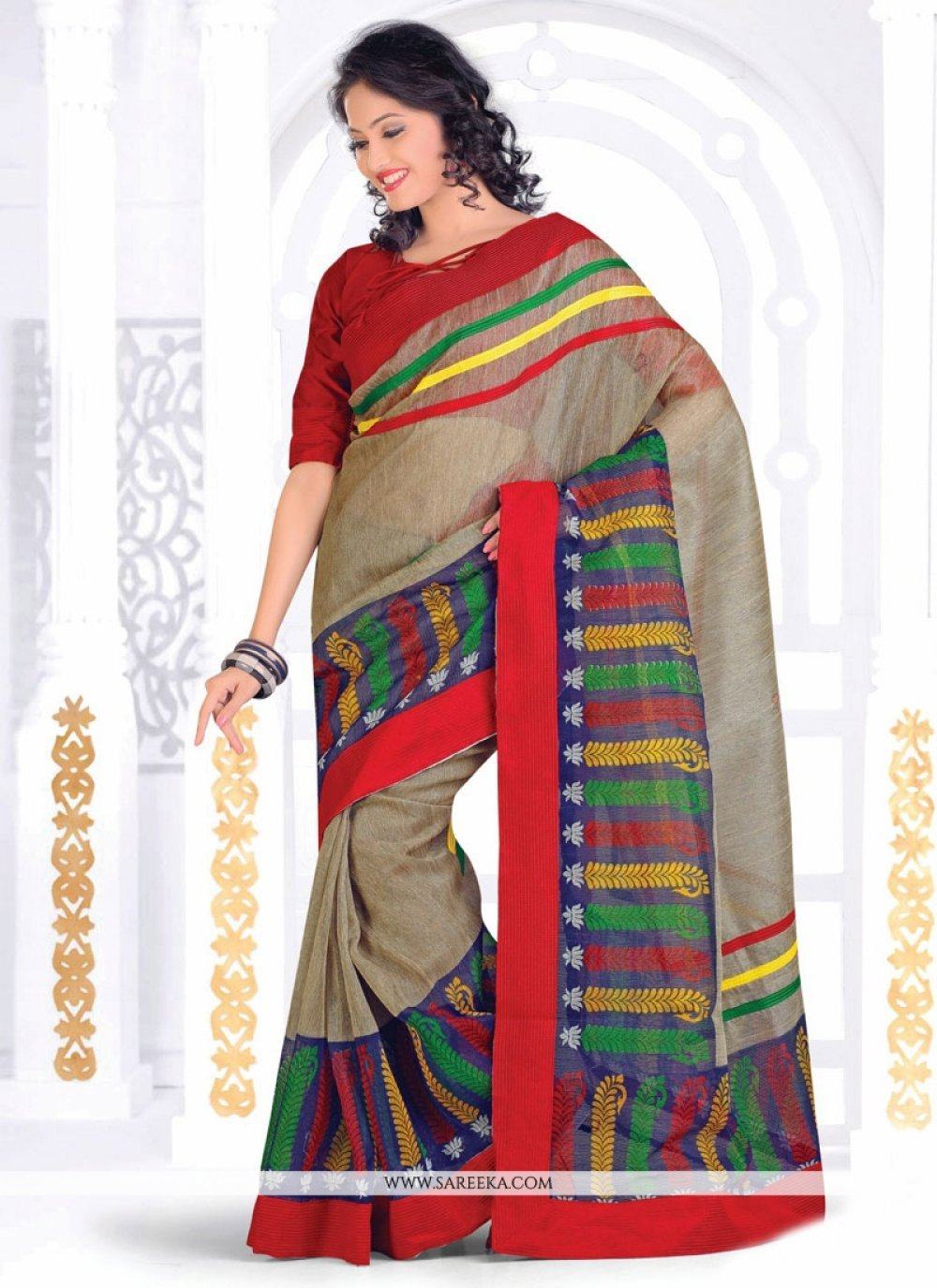 Beige Print Work Casual Saree