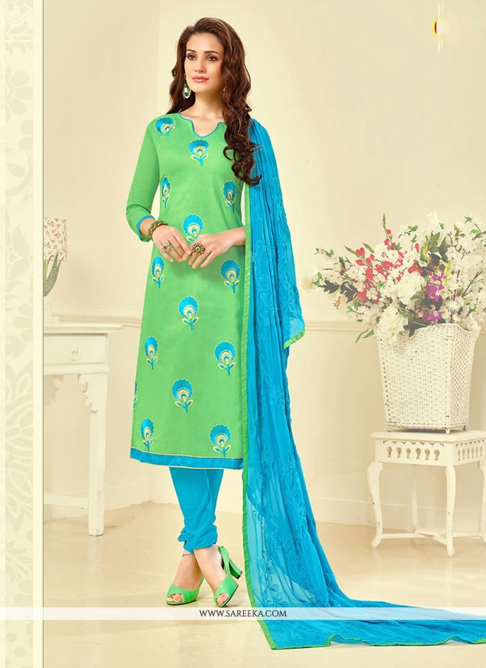 Embroidered Work Cotton   Green Churidar Suit