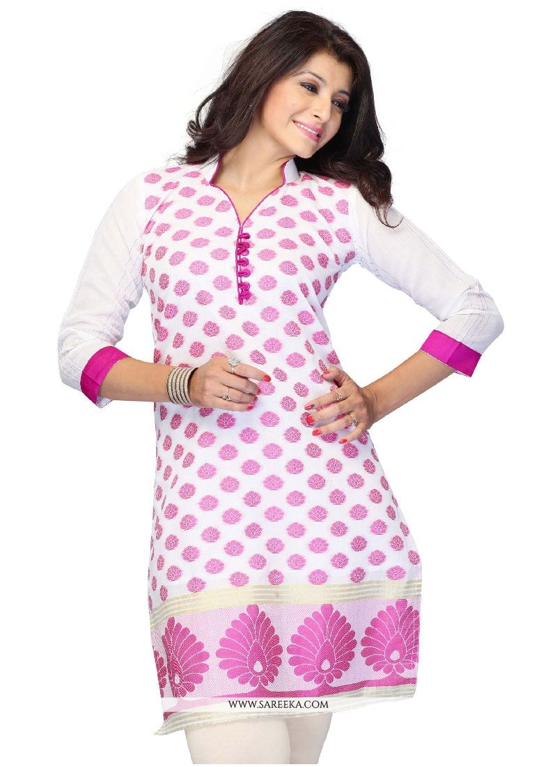 Off White Embroidered Work Jacquard Casual Kurti