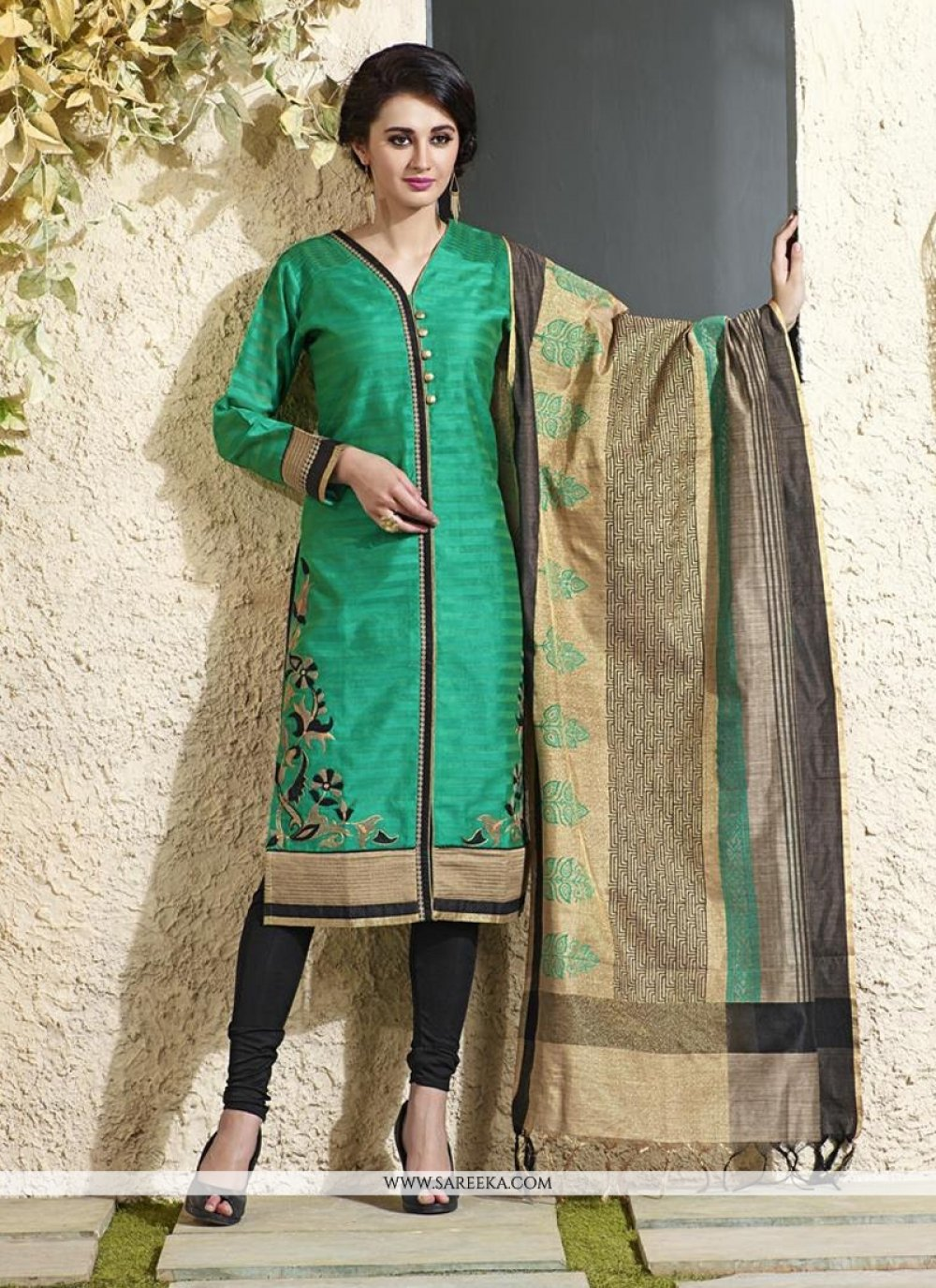 Sea Green Chanderi Cotton Readymade Suit