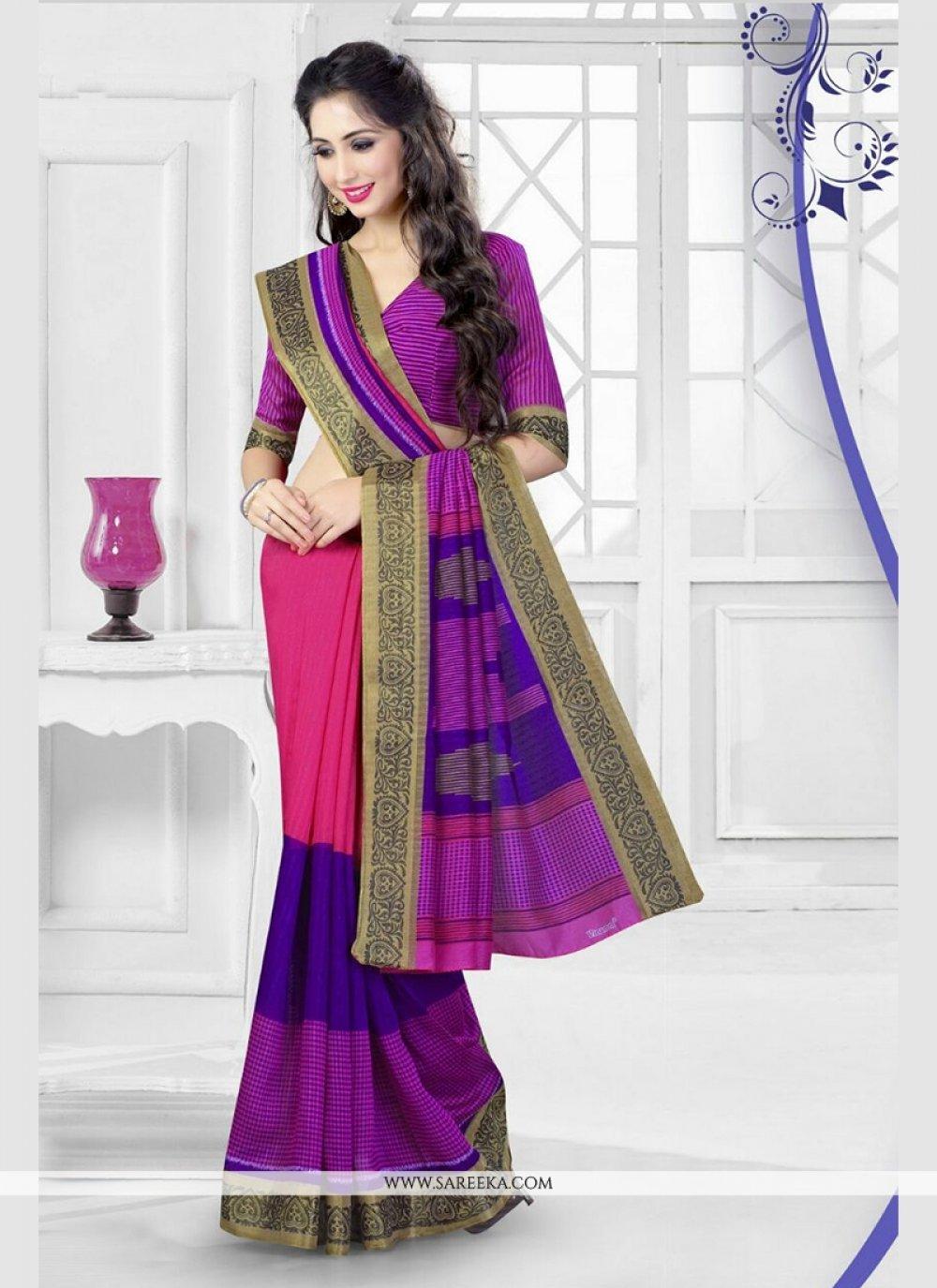 Silk Hot Pink Printed Saree