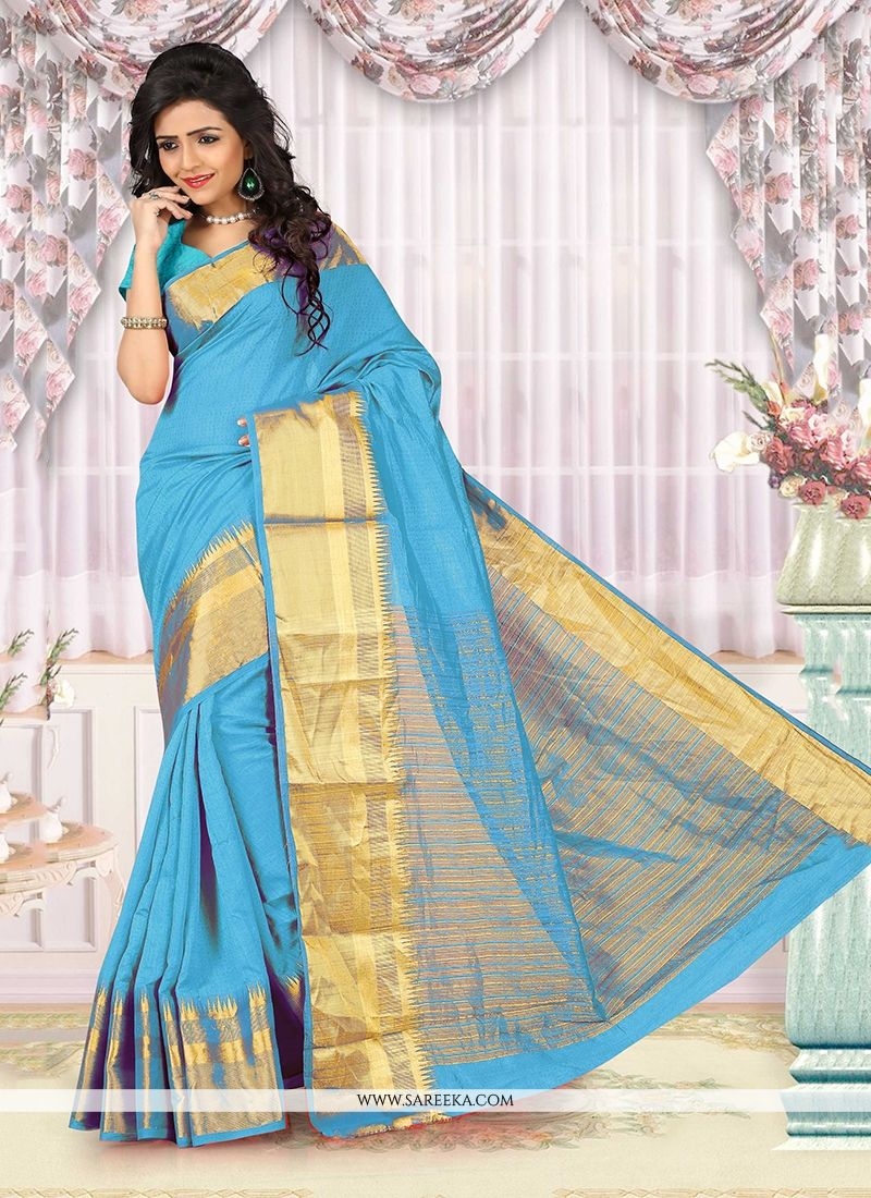 Turquoise Patch Border Work Cotton   Casual Saree