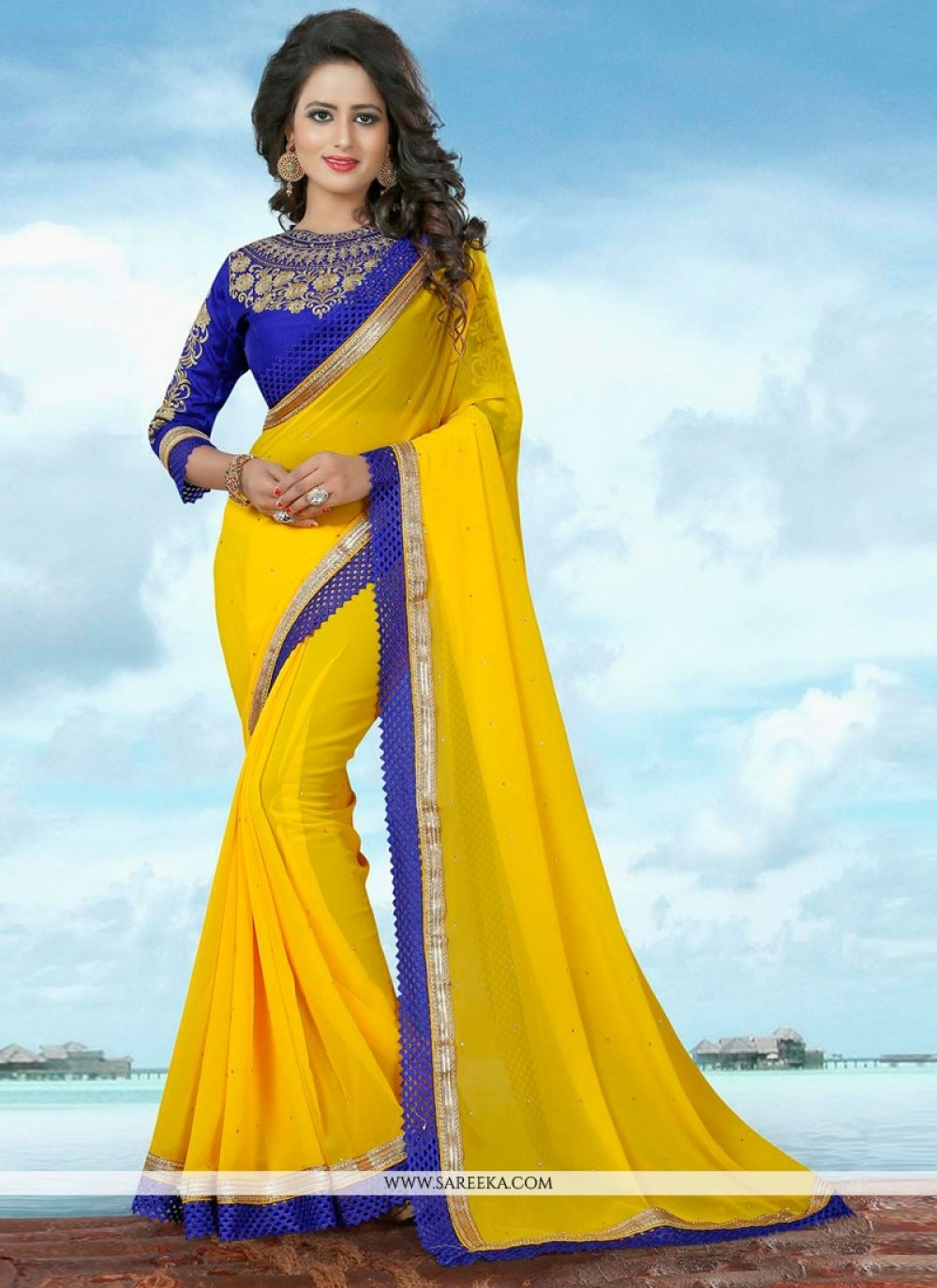 Yellow Patch Border Work Banglori Silk Classic Saree