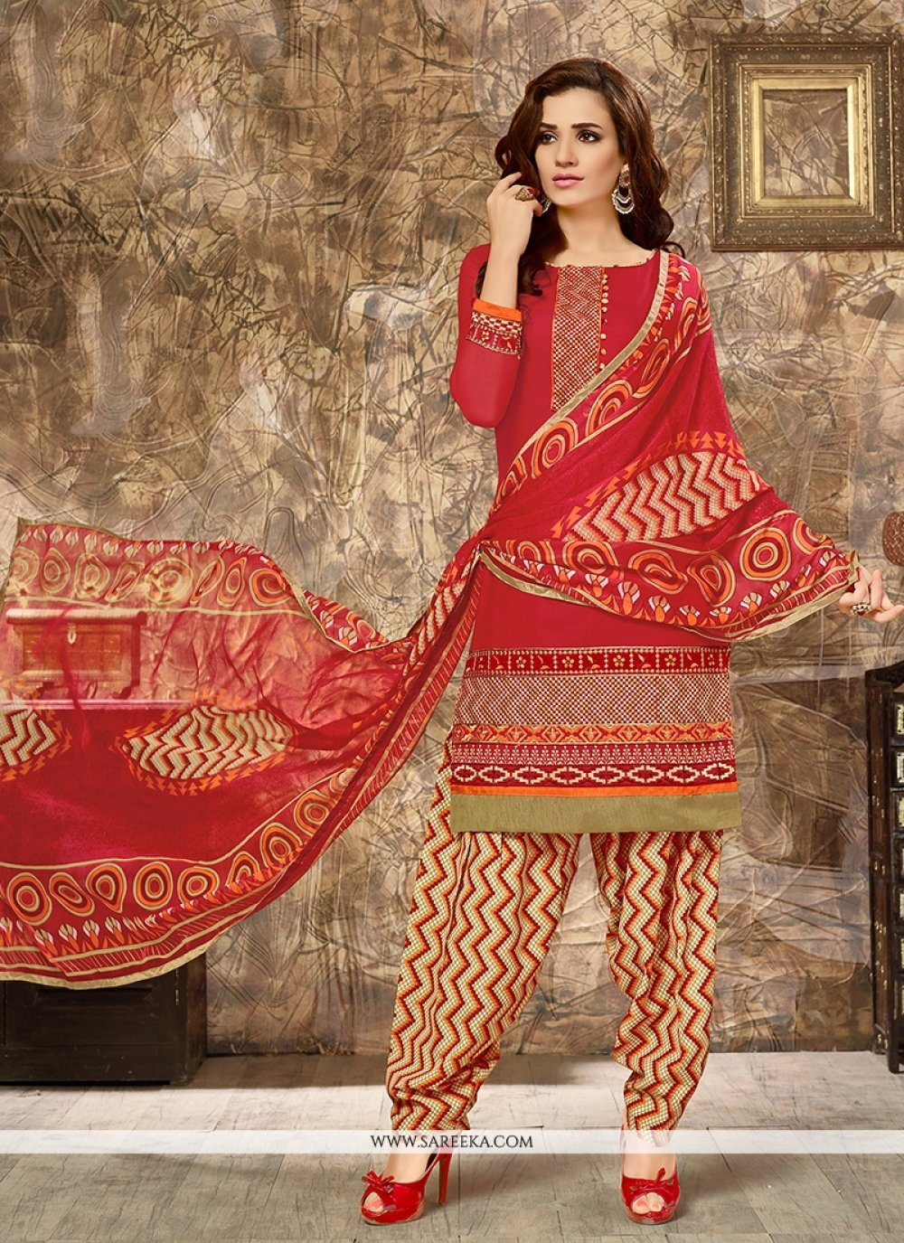 Cotton   Red Embroidered Work Punjabi Suit