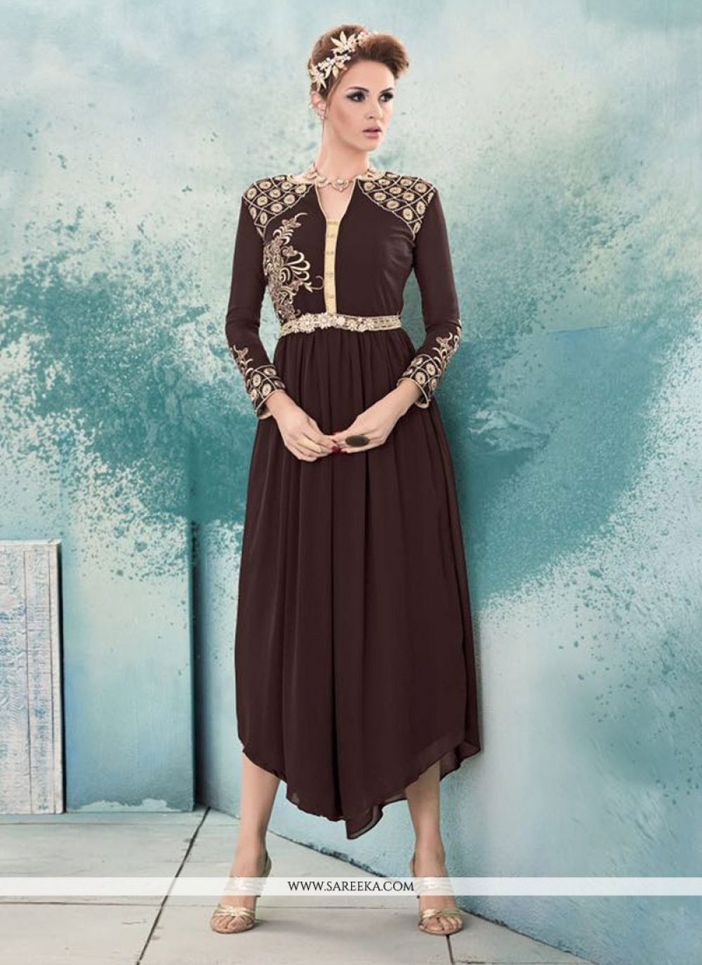 Embroidered Work Brown Georgette Party Wear Kurti