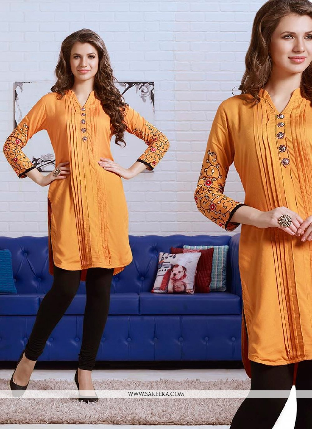 Embroidered Work Yellow Rayon Party Wear Kurti