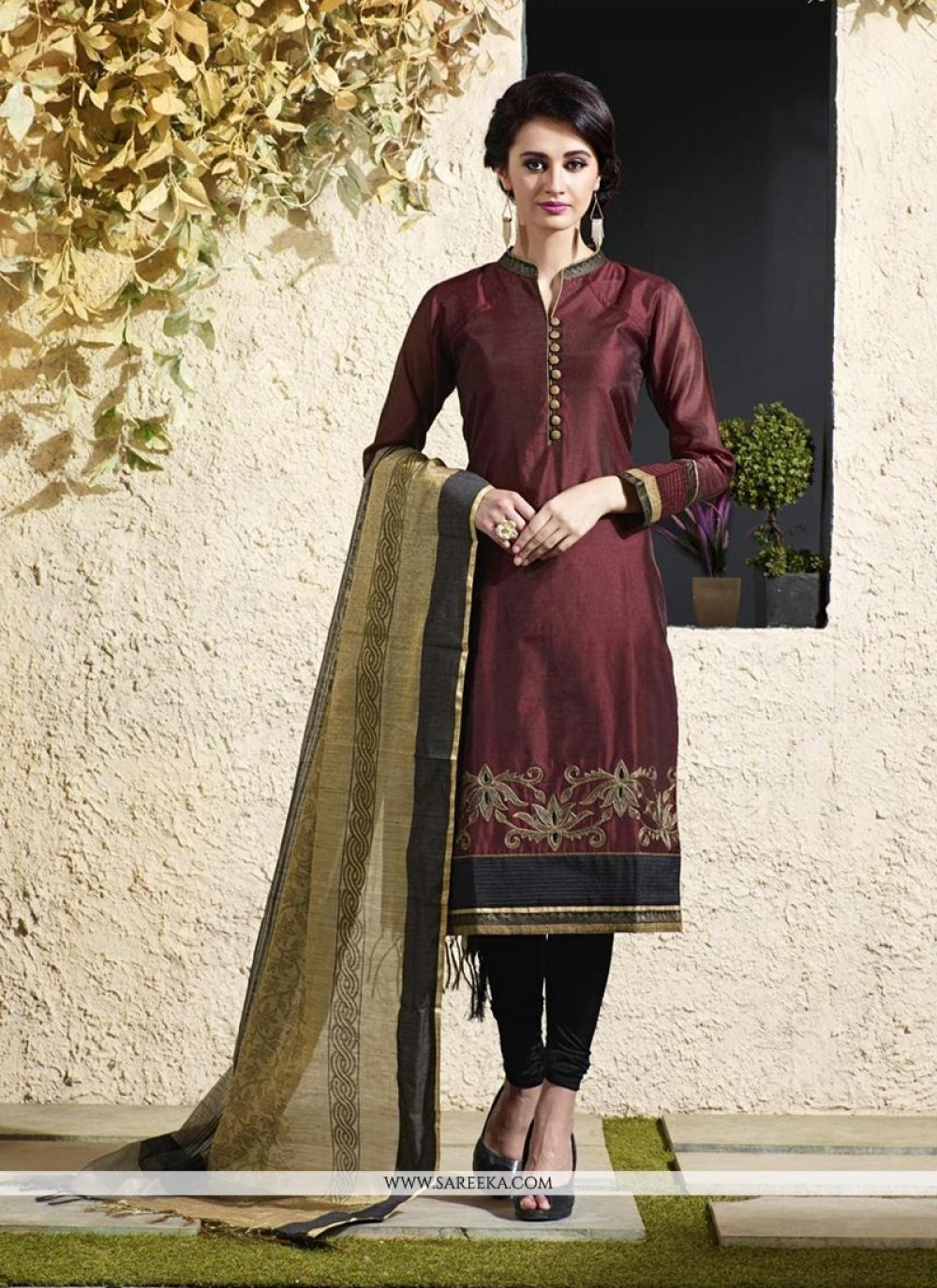 Maroon Chanderi Cotton Readymade Suit