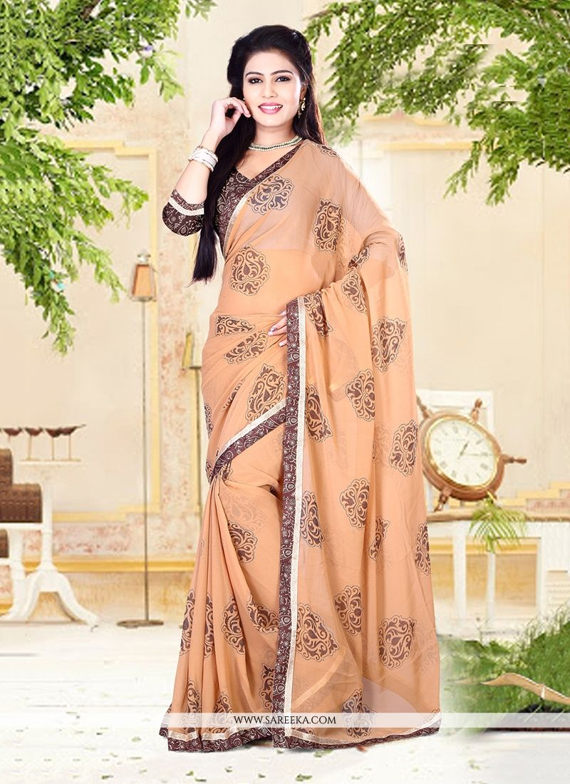 Beige Patch Border Work Georgette Designer Saree