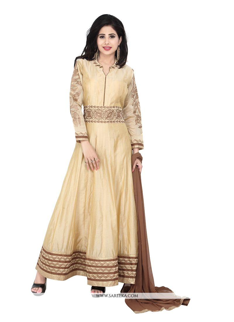 Embroidered Work Beige Designer Suit