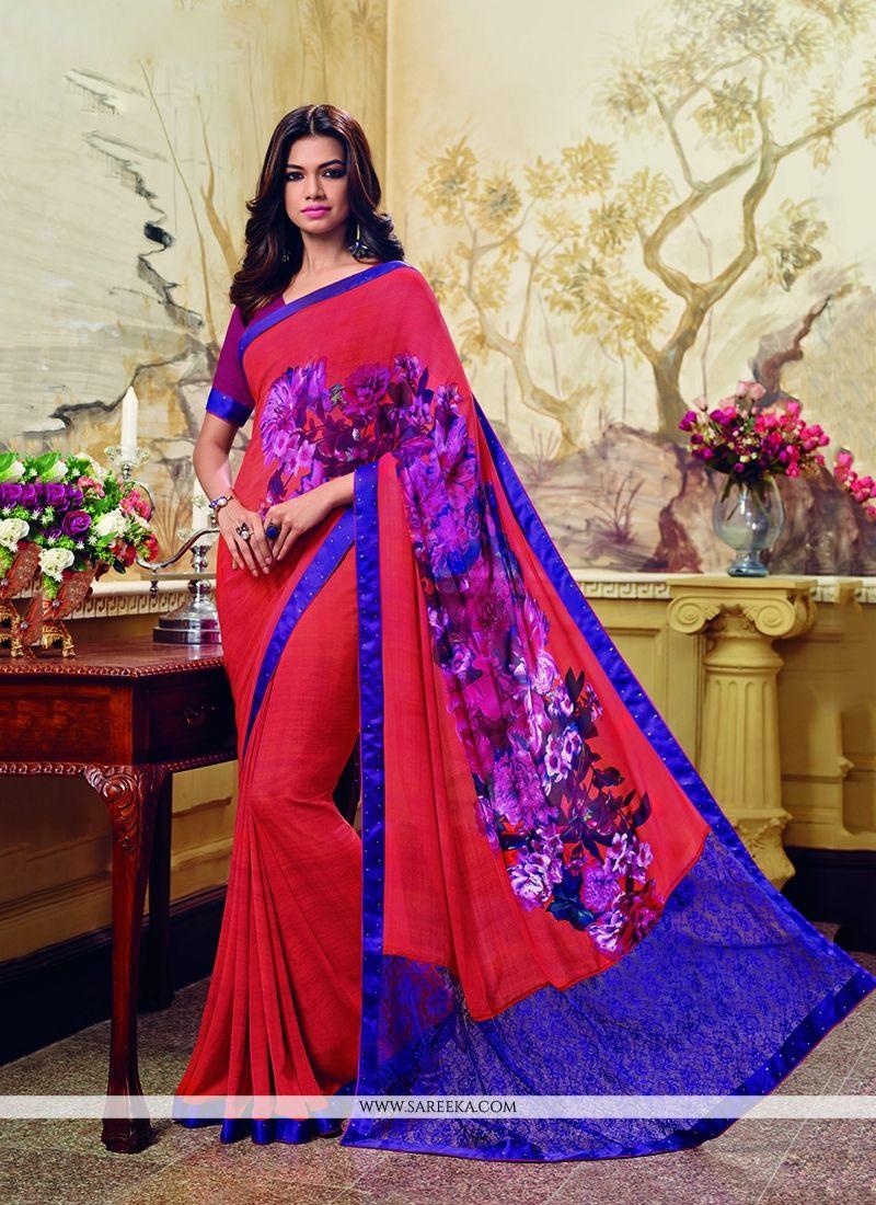 Georgette Multi Colour Print Work Printed Saree