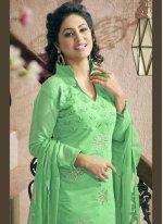 Green Chanderi Cotton Churidar Designer Suit
