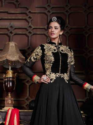Black Embroidered Work Georgette Anarkali Salwar Kameez