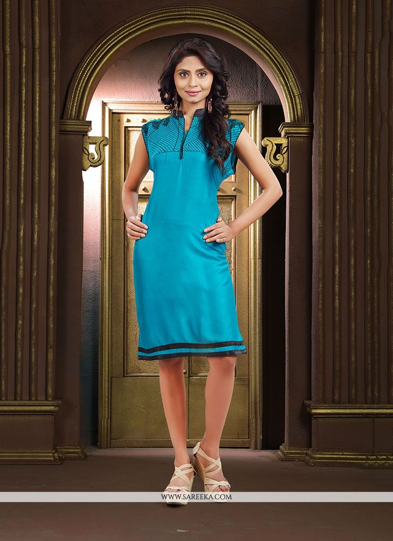 Blue Embroidered Work Fancy Fabric Party Wear Kurti
