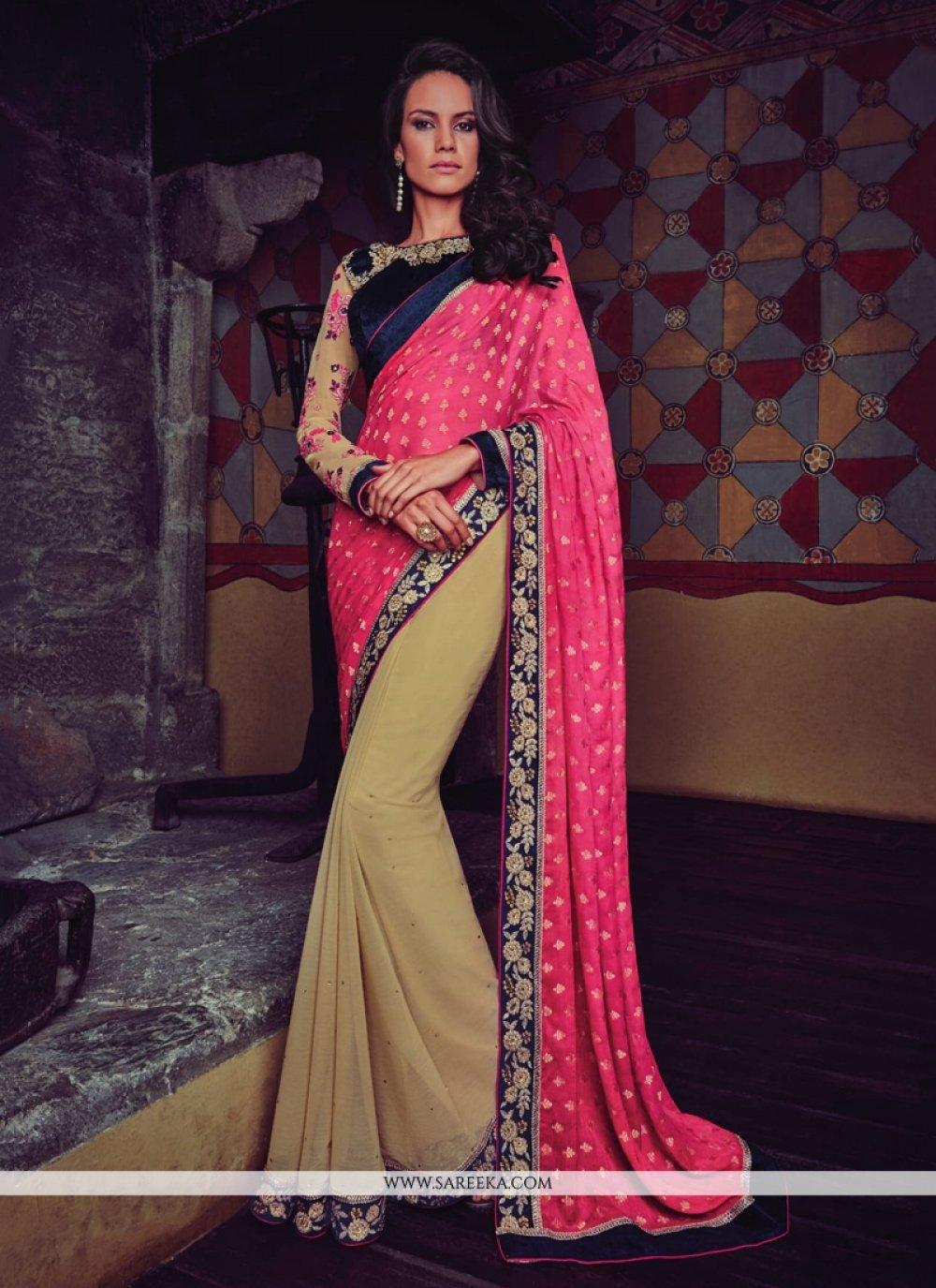 Faux Chiffon Beige and Hot Pink Designer Half N Half saree
