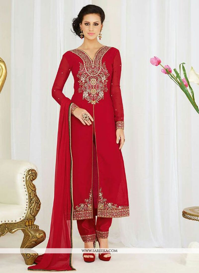 Georgette Red Resham Work Pant Style Suit