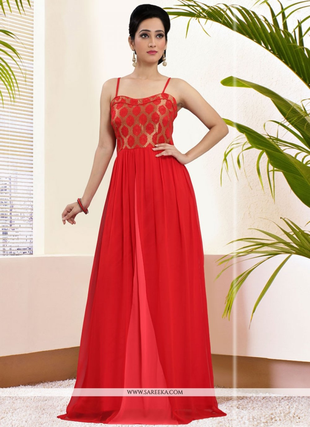 Red Art Silk Readymade Gown