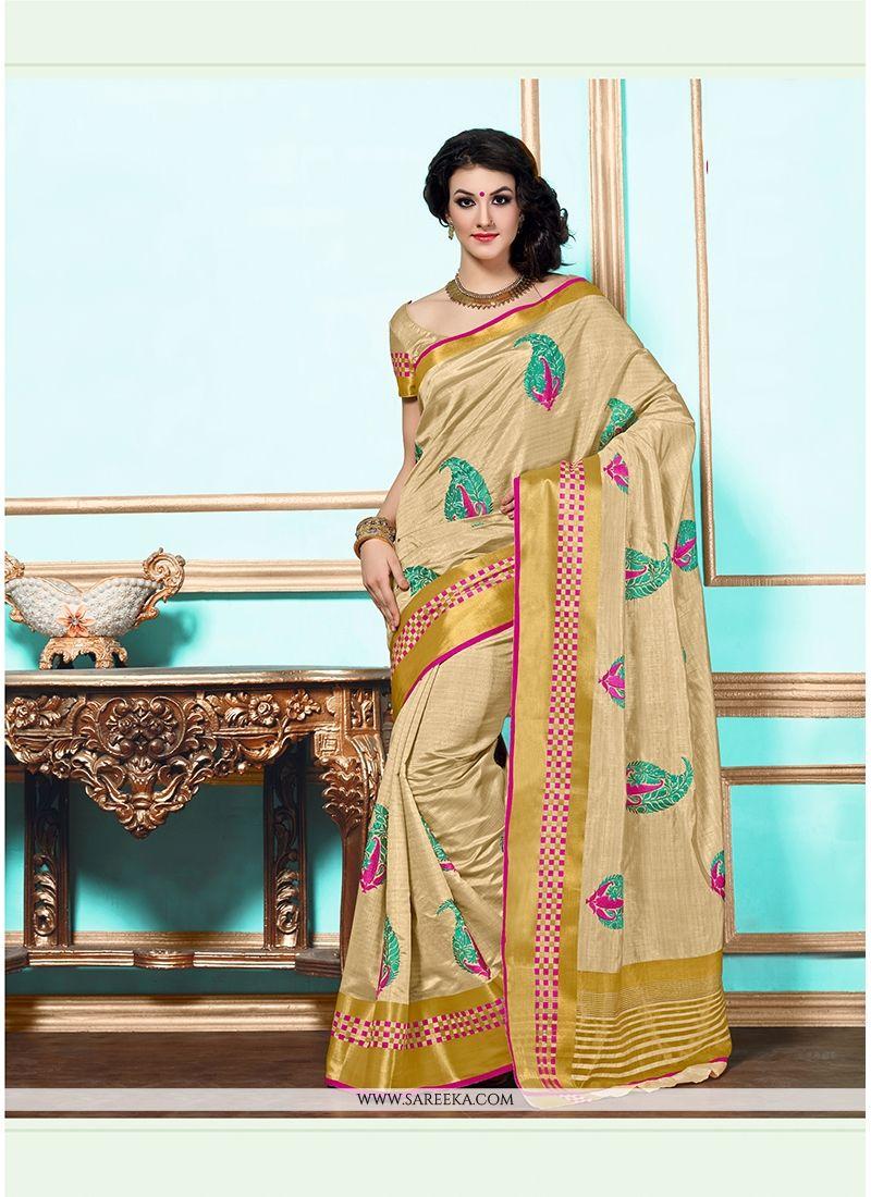 Beige Tussar Silk Designer Saree