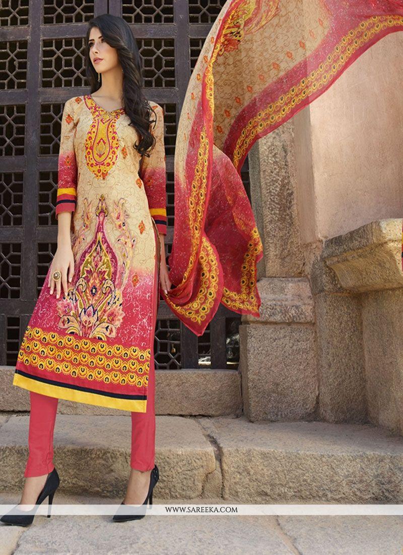 Cotton   Beige and Pink Churidar Designer Suit