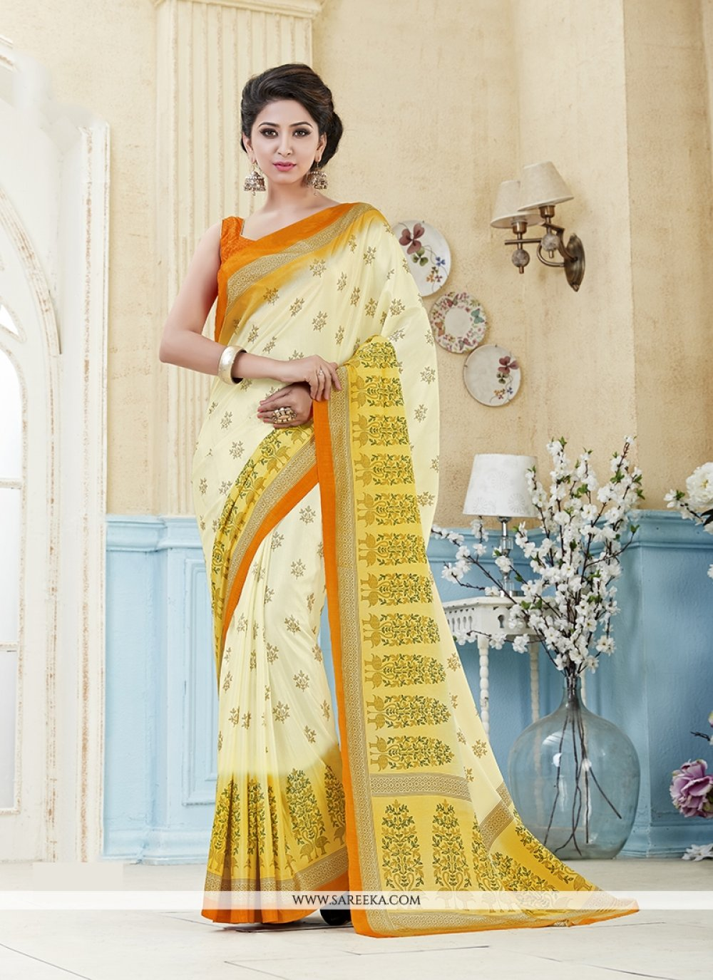 Kanchipuram silk Print Work Casual Saree
