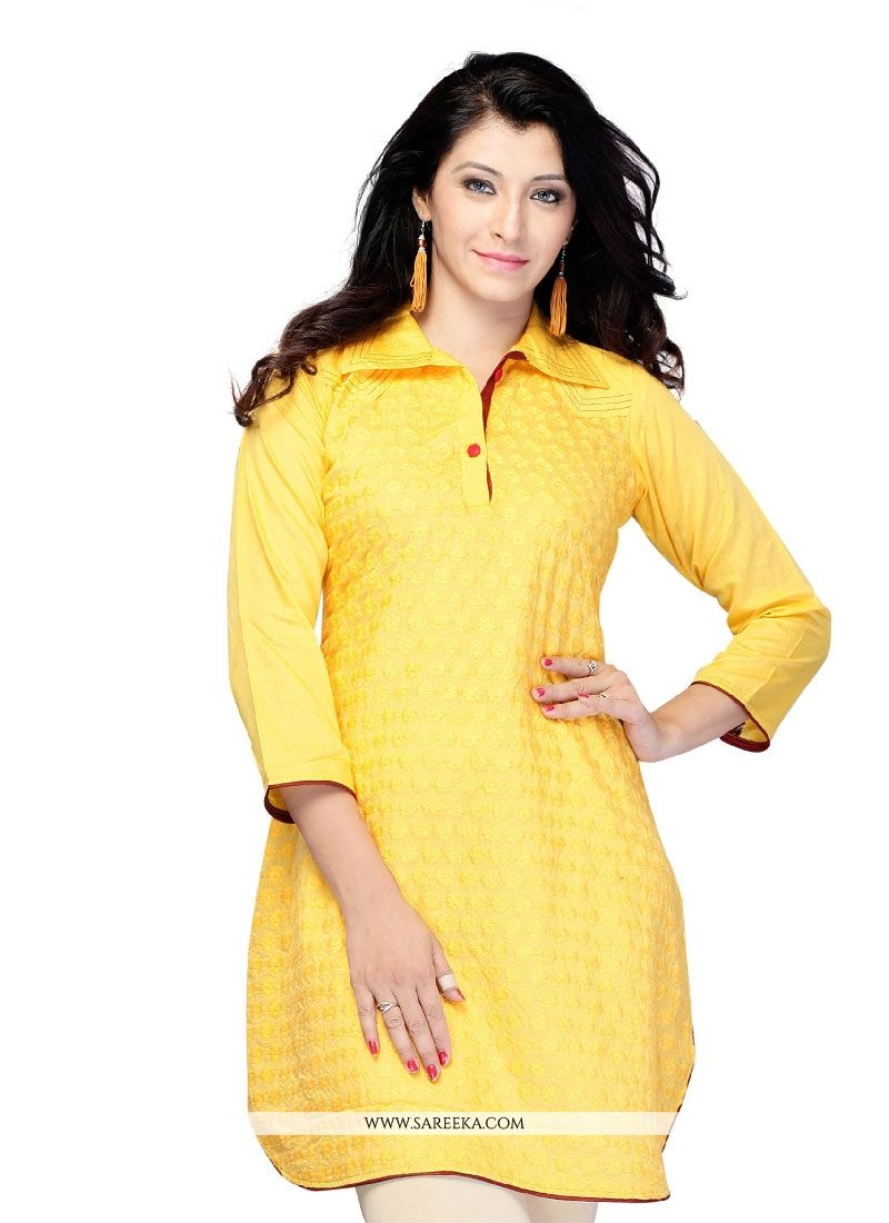 Yellow Lace Work Jacquard Casual Kurti