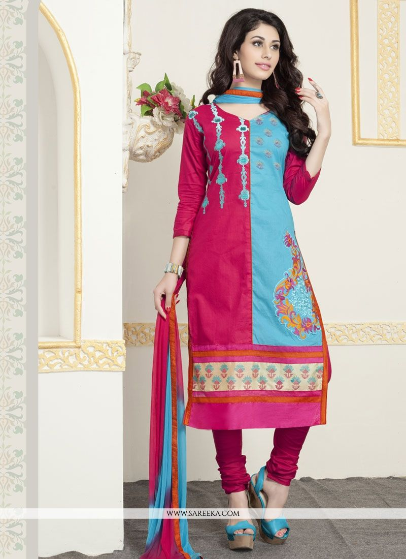 Cotton   Blue and Pink Churidar Designer Suit