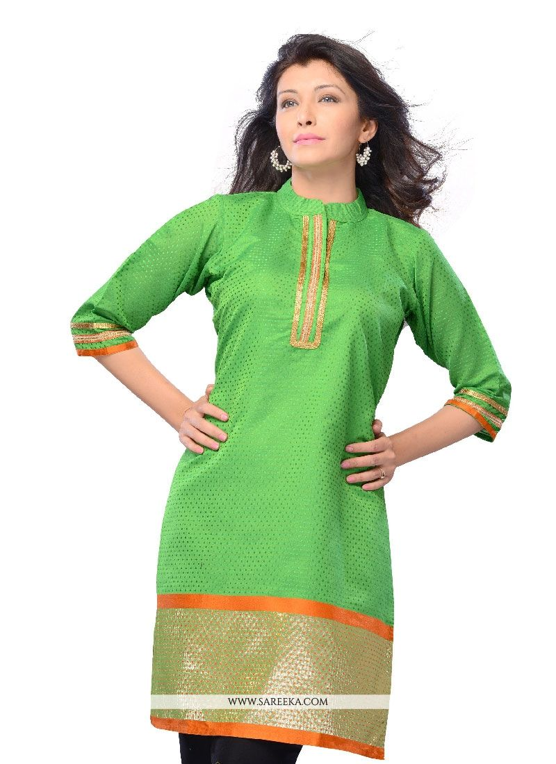 Art Silk Green Lace Work Casual Kurti