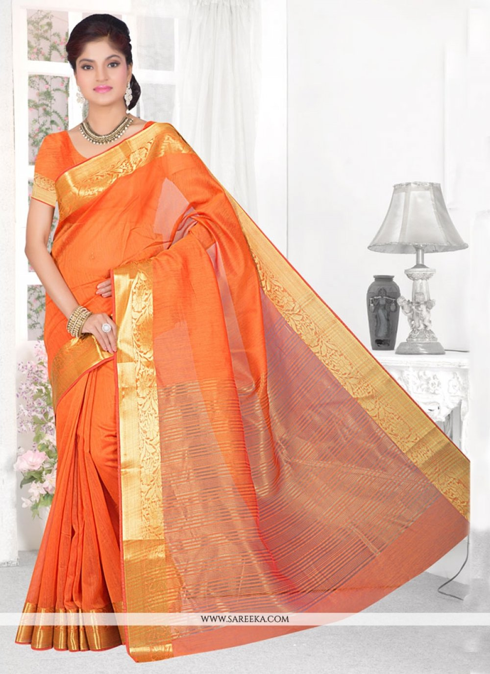 Cotton Silk Orange Patch Border Work Casual Saree