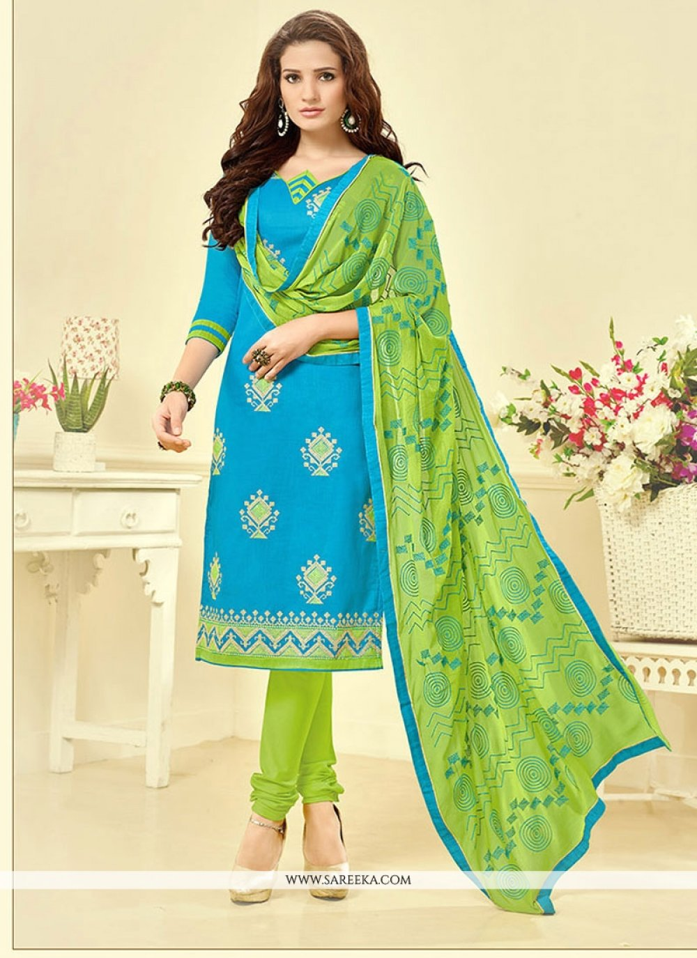 Embroidered Work Cotton   Blue Churidar Suit