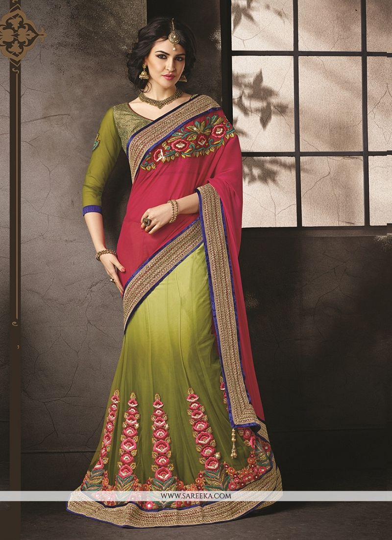 Patch Border Work Lehenga Saree
