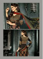 Print Work Crepe Silk Black Churidar Designer Suit