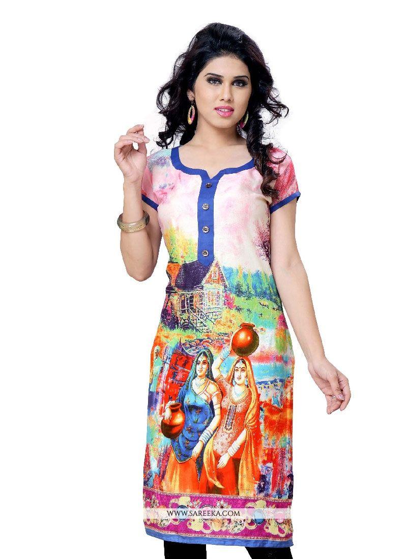 Print Work Georgette Multi Colour Party Wear Kurti
