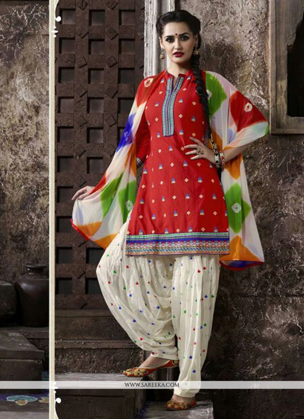 Red Embroidered Work Cotton   Punjabi Suit