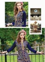 Chanderi Navy Blue Lace Work Designer Suit