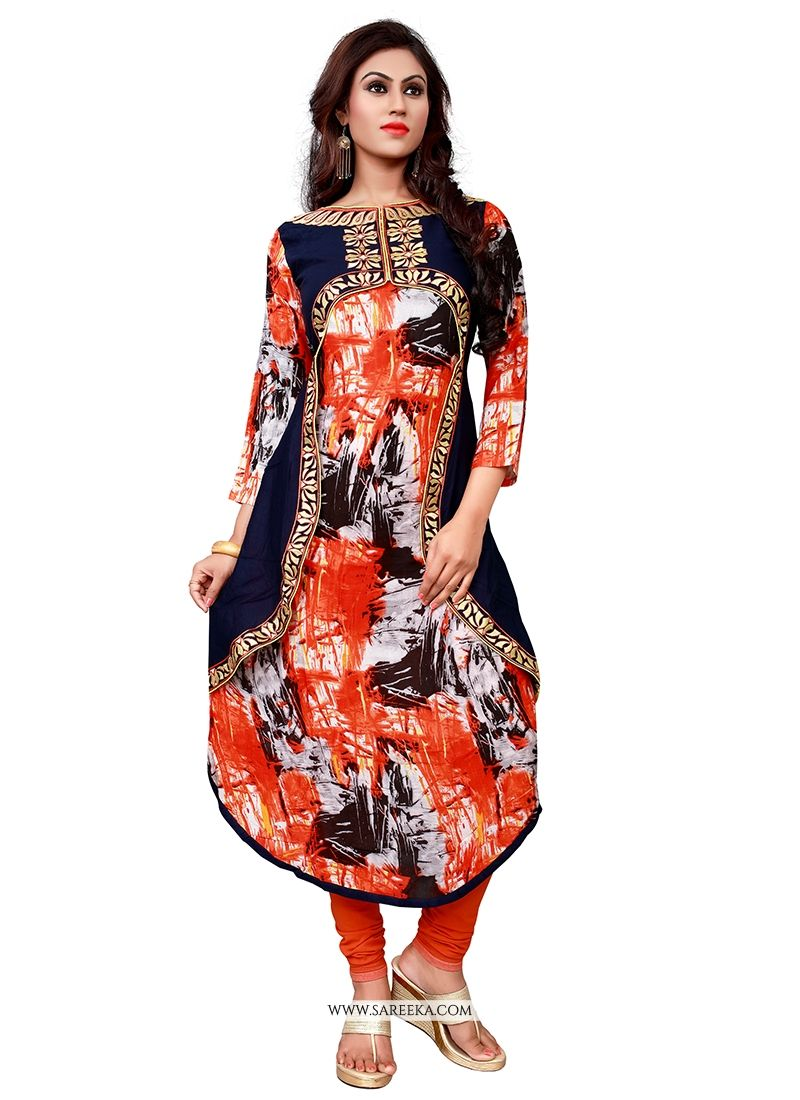 Embroidered Work Multi Colour Cotton   Party Wear Kurti