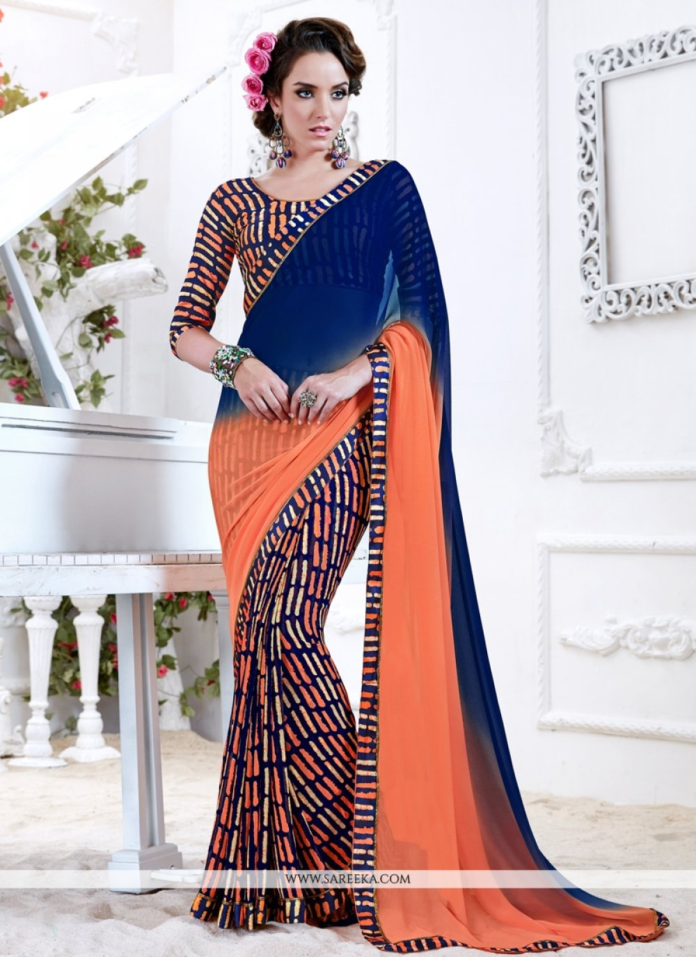 Print Work Georgette Printed Saree