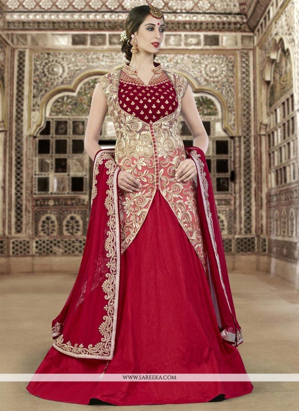 Resham Work Raw Silk A Line Lehenga Choli