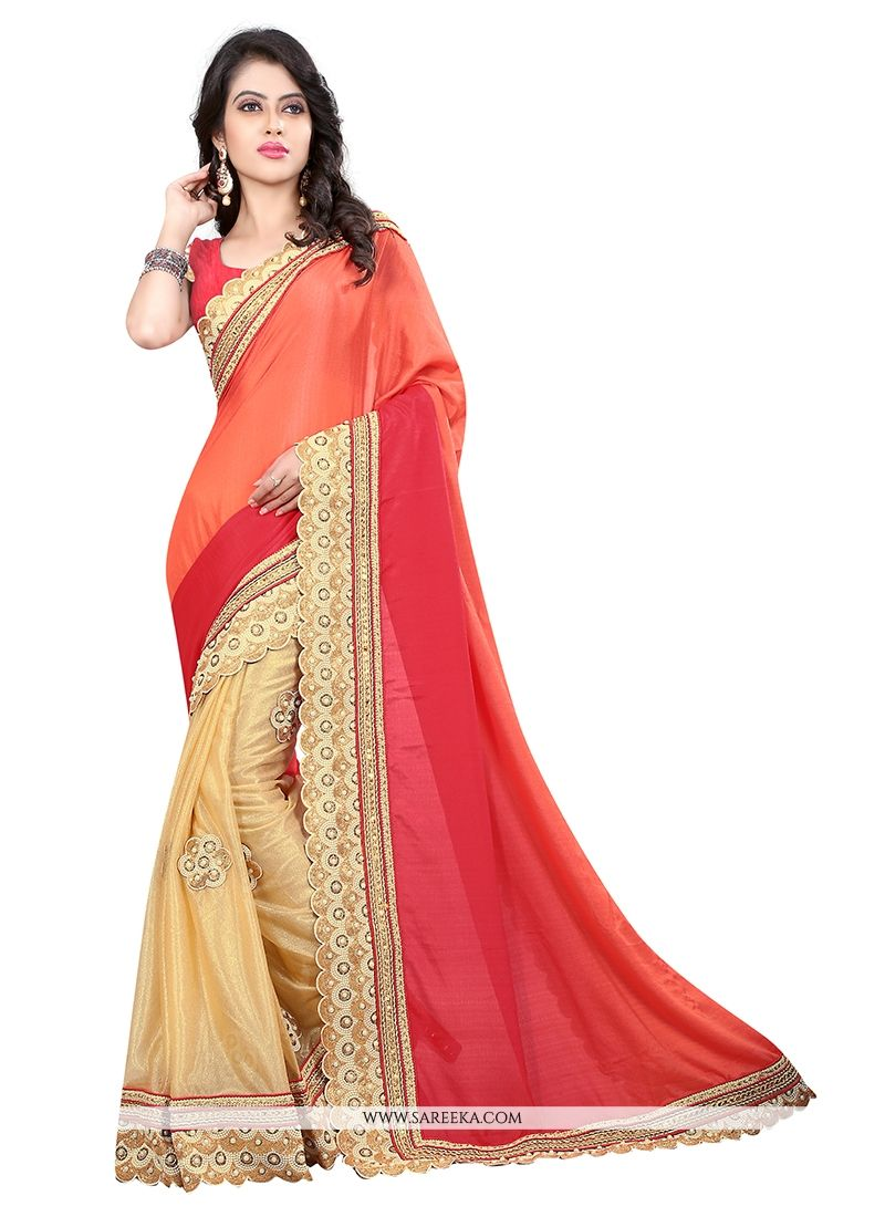 Embroidered Work Beige Designer Saree