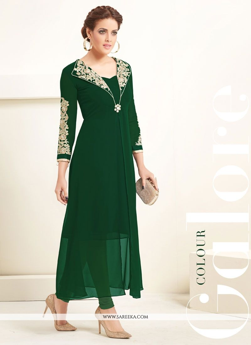 Embroidered Work Georgette Green Party Wear Kurti