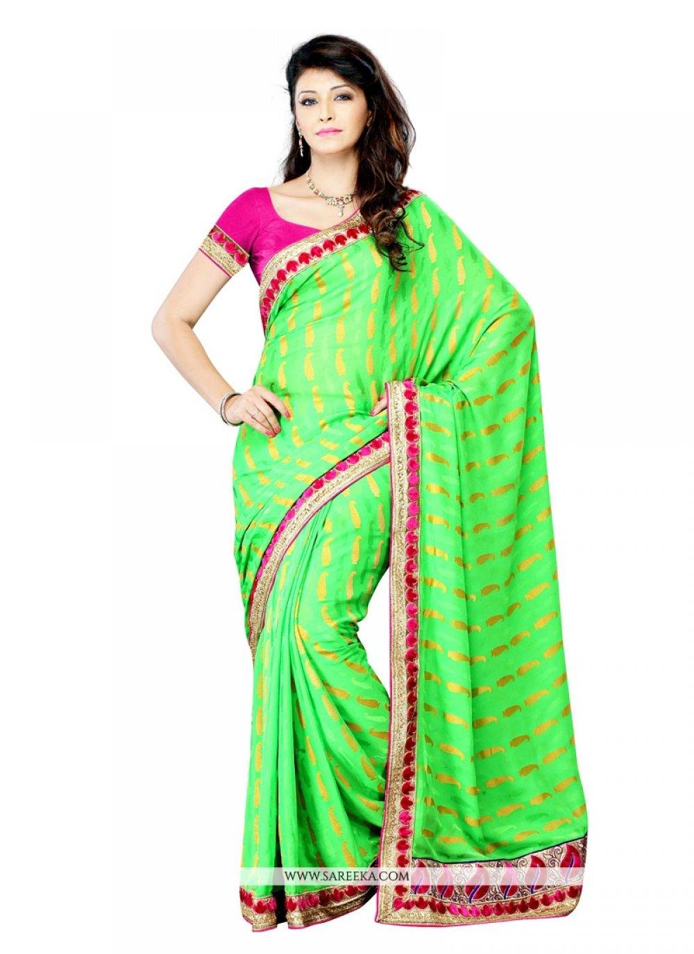 Green Patch Border Work Crepe Jacquard Designer Saree