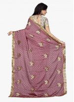Lavender Embroidered Work Classic Designer Saree