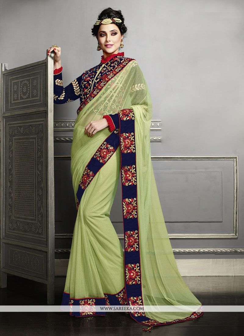 Net Green Classic Designer Saree