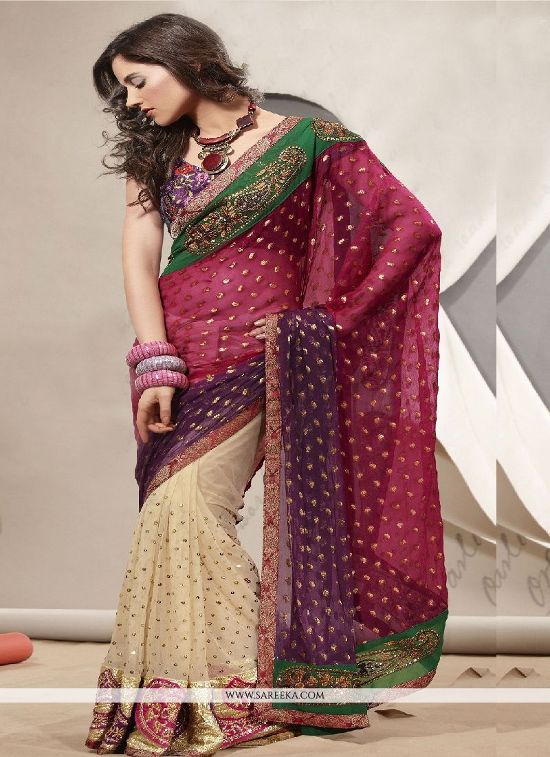Net Beige Patch Border Work Designer Saree
