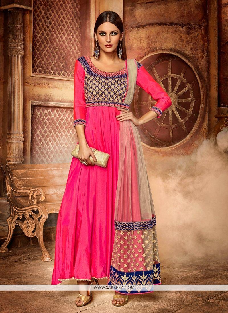 81008d7b7b1 Buy Online Sterling Embroidered Work Net Hot Pink Anarkali Salwar Kameez    46249 -