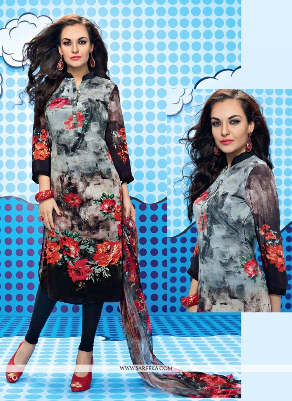 Print Work Georgette Multi Colour Churidar Designer Suit